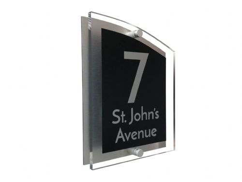 Arc Shape - Clear Acrylic House Sign - Black Colour with Silver text in Font  3